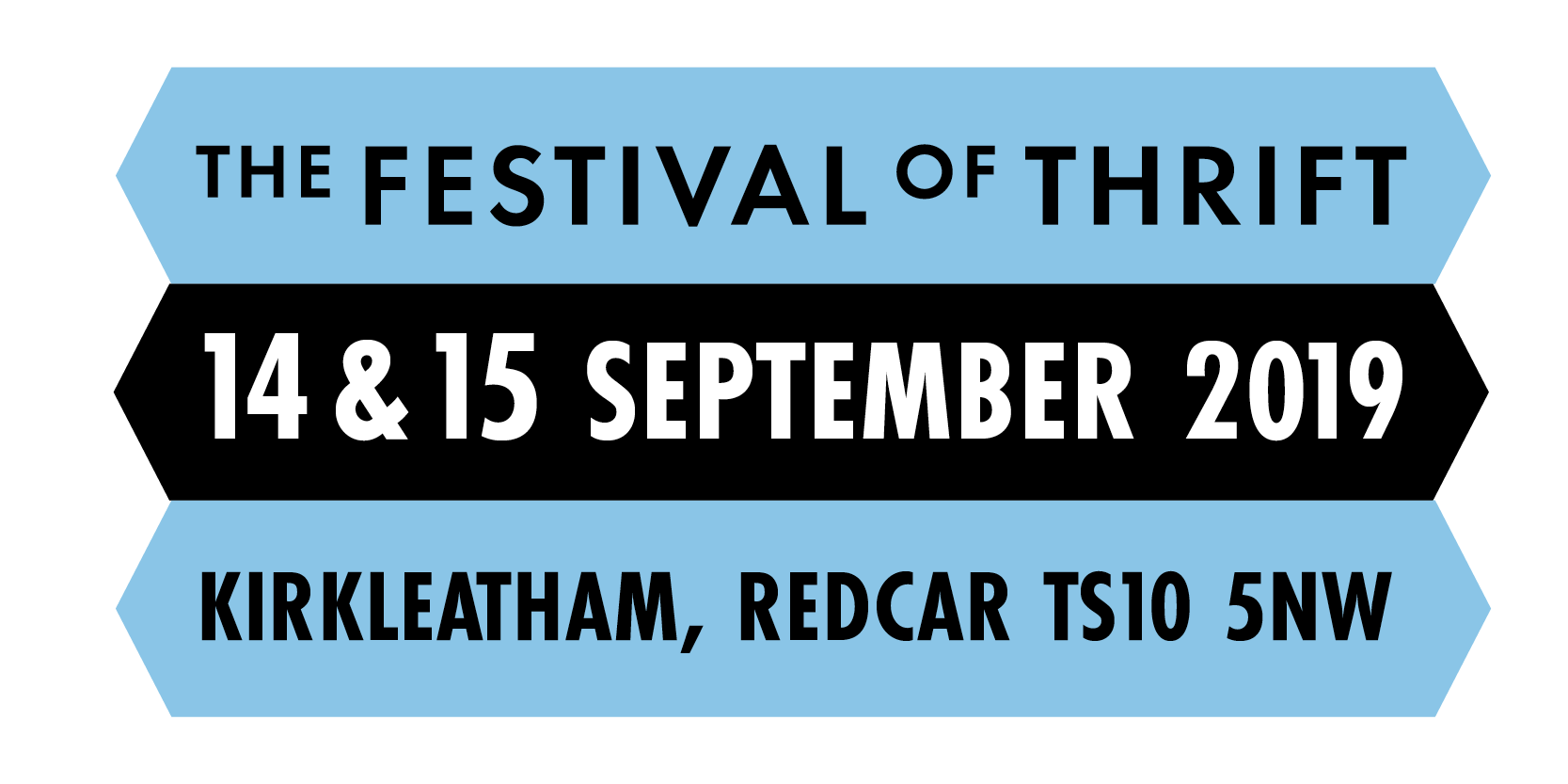 The festival of thrift logo with the dates, 14 & 15 September, and address