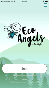 A screenshot of the Eco Angels of the North game opening screen